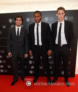 Rafael Pereira da Silva, Antonio Valencia and Adnan Januzaj - Celebrities arrive at Manchester United Football Club, Old Trafford, Manchester...