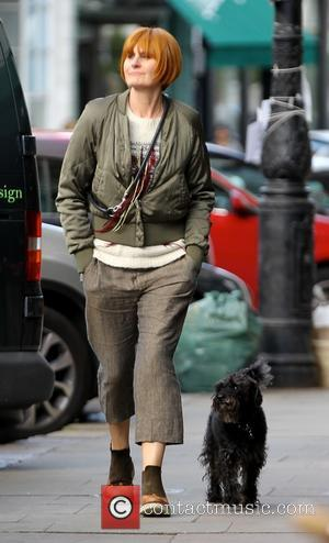 Mary Portas - Retail guru Mary Portas walking her dog in Primrose Hill - London, United Kingdom - Wednesday 20th...