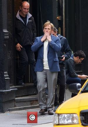 American actor Steve Carell was snapped on the set of 'The Big Short' in New York City, New York, United...