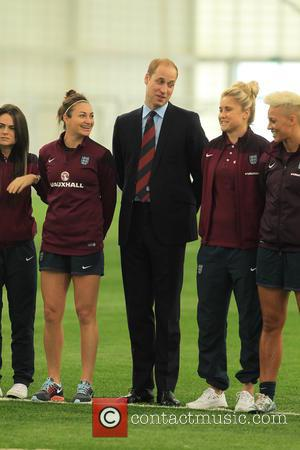 Prince William and Duke of Cambridge - Prince William, Duke of Cambridge visits the England Senior Women's football team at...