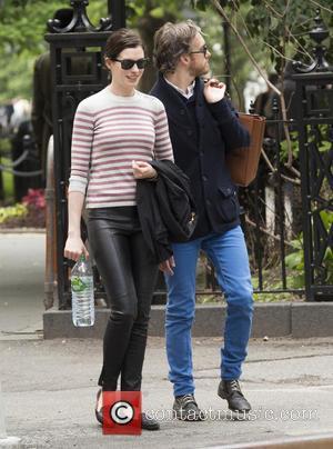 Anne Hathaway and Adam Shulman - Anne Hathaway and Adam Shulman go for a walk in Greenwich Village at Greenwich...
