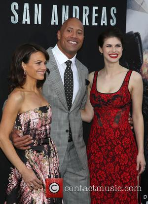 Carla Gugino, Dwayne 'The Rock' Johnson and Alexandra Daddario