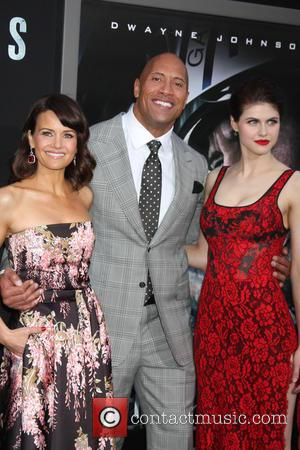 Carla Gugino, Dwayne Johnson and Alexandra Daddario