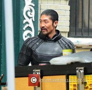 Brian Tee - Stars on the film set of 'Teenage Mutant Ninja Turtles 2' in New York City - Manhattan,...