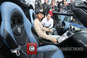 Lewis Hamilton - Lewis Hamilton arrives at Gumball 3000 in Los Angeles. He will be driving from Los Angeles to...