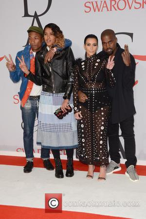 Pharrell Williams, Helen Lasichanh, Kanye West and Kim Kardashian
