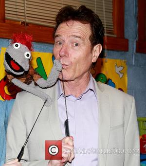 Bryan Cranston - Bryan Cranston visits the cast of the Broadway play 'Hand To God' backstage at the Booth Theatre...