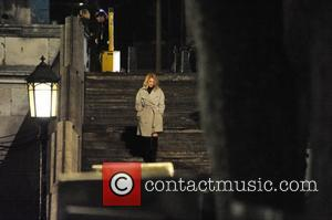 Lea Seydoux - Filming scenes for James Bond movie 'Spectre' taking place on location at Westminster Bridge over the River...