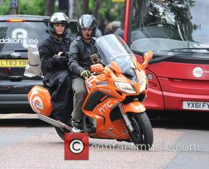Amanda Holden - Amanda Holden leaving the ITV studios on a motorcycle taxi - London, United Kingdom - Monday 8th...