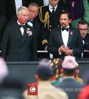 Prince Charles and HRH Sultan of Brunei - The Queen, accompanied by other senior Royals, attends The Gurkha 200 Pageant...