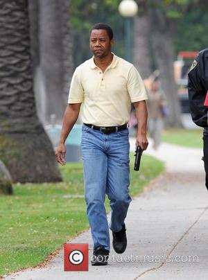 Cuba Gooding Jr - Cuba Gooding Jr filming the famous OJ Simpson car chase for 'American Crime Story' in Beverly...
