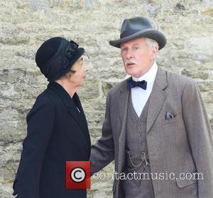Sue Johnston and David Robb - David Robb and Sue Johnston film a scene for the final series of Downton...