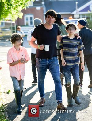 Alex James, Galileo James and Geronimo James - Alex James backstage at the Isle of Wight Festival at Isle of...