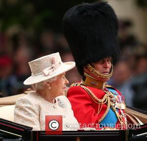 Queen Elizabeth II, Prince Philip and Duke of Edinburgh - The Queen attends Trooping the Colour, accompanied by other senior...
