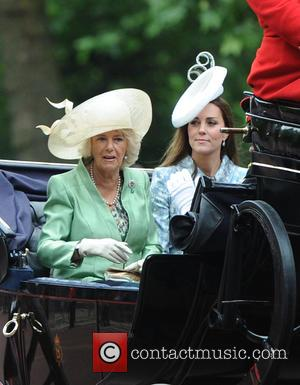 Duchess of Cornwall and Duchess of Cambridge - The Queen attends Trooping the Colour, accompanied by other senior Royals, at...