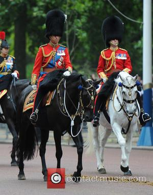 Prince William and Duke of Cambridge - The Queen attends Trooping the Colour, accompanied by other senior Royals, at Horse...