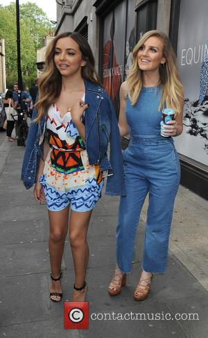 Perrie Edwards and Jade Thirlwall - Little Mix leaving the Sony offices in Kensington - London, United Kingdom - Thursday...