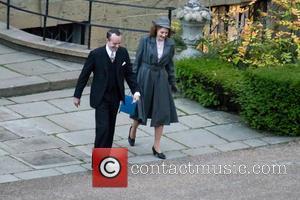 Matthew Macfadyen and Romola Garai - Filming scenes for 'Churchills Secret' at a manor house in Surrey - London, United...