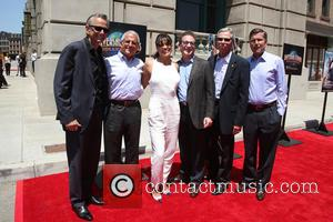 Michelle Rodriguez, Steve Burke, Larry Kurzweil, Tom Williams, Ron Meyer and Mark Woodbury at Universal Studios Hollywood