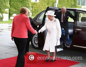 Angela Merkel, Queen Elizabeth Ii and Prince Philip Duke Of Edinburgh