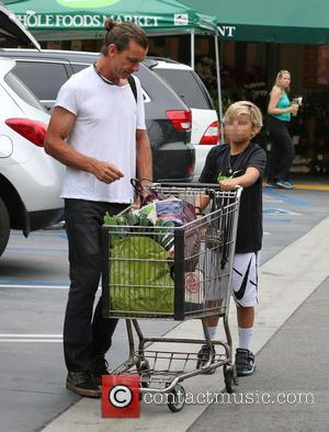 Gavin Rossdale and Kingston Rossdale - Gavin Rossdale leaves Whole Foods with his son Kingston after doing some grocery shopping...