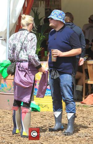 James Corden and Julia Carey - Glastonbury Festival 2015 - Day 4 - Celebrity Sightings at Glastonbury Festival - Somerset,...