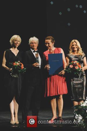 Jean-Jacques Annaud, Katja Eichinger, Jessica Kastrop and Diana Iljine - Filmfest München 2015 - CineMerit Gala at Festivalzentrum Gasteig at...