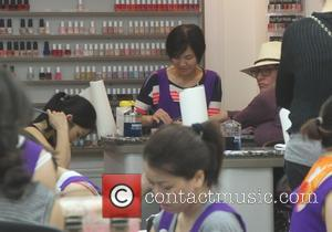 Katey Sagal - Katey Sagal, known for her character Peggy Bundy on 'Married With Children,' gets a manicure in Beverly...