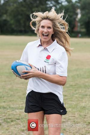 Penny Lancaster-Stewart - British model and Penny for London ambassador plays rugby as she presents grant to the Dallaglio Foundation...