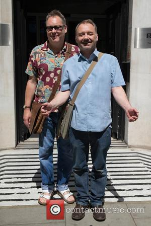 Vic Reeves and Bob Mortimer - Vic Reeves and Bob Mortimer pictured leaving the Radio 2 studios at BBC Western...