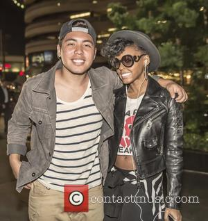 Janelle Monae and Omar Alhindi - Janelle Monae and Omar Alhindi outside Sofitel Hotel for the InfoList.com's Pre-ComicCon Party at...