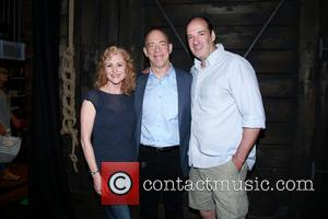 Elizabeth Ward Land, J.K. Simmons and Dan Sharkey - J.K. Simmons visits the cast of Broadway's 'Amazing Grace' backstage at...