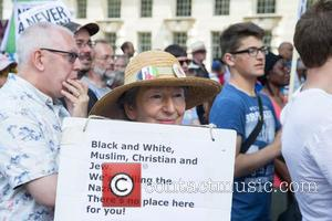 Atmosphere - Far right anti semitic demonstration staged in Whitehall, London at Whitehall - London, United Kingdom - Saturday 4th...