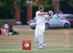 Harry Judd - Harry Judd opens the batting for the Bunburys in their match with Ham and Petersham cricket club...