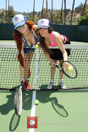 Phoebe Price and Alicia Arden - Phoebe Price and Alicia Arden playing Tennis in Woodland Hills - Los Angeles, California,...