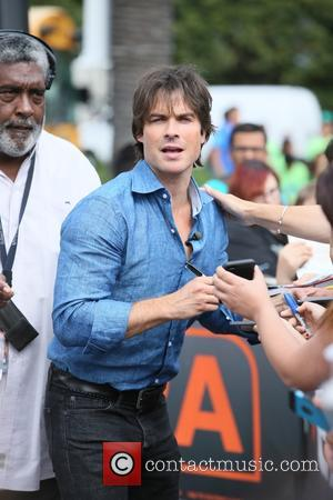Ian Somerhalder - Ian Sommerhalder seen at Universal Studios where he was interviewed for television show Extra by Mario Lopez...