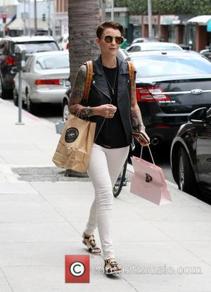 Ruby Rose - Ruby Rose wearing white skinny jeans and a leather jacket at Anastasia in Beverly Hills after having...