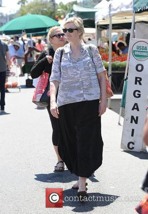 Jane Lynch - Jane Lynch wears parachute pants to the Farmers Market - Los Angeles, California, United States - Sunday...
