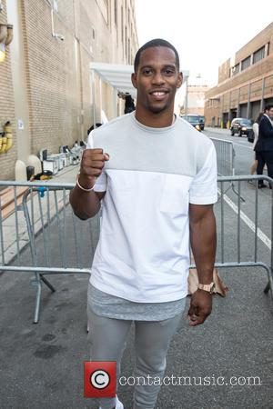 Victor Cruz - New York Fashion Week Men's S/S 2016 Opening Press Conference at Skylight Clarkson Sq at Skylight Clarkson...