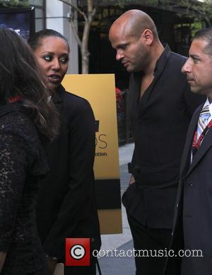 Mel B and Stephen Belafonte - Mel B and Stephen Belafonte arrive at the Sports Humanitarian Awards at L.A. Live...
