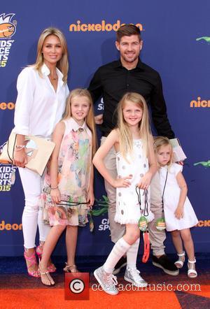 Steven Gerrard, wife Alex Gerrard, daughters Lilly-Ella Gerrard, Lexie Gerrard and Lourdes Gerrard - Nickelodeon's Kids' Choice Sports 2015 Awards...