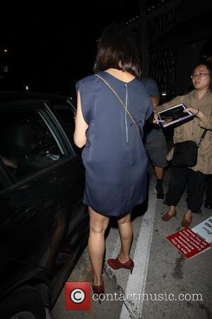 Freida Pinto - Freida Pinto arrives at Craig's restaurant in Los Angeles in a simple blue dress and brown brogue...