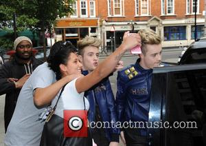 Jedward - Jedward promote their new TV Show Sharknado at The BBC - London, United Kingdom - Thursday 23rd July...