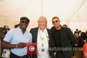 Viv Richards, David English and Shane Warne