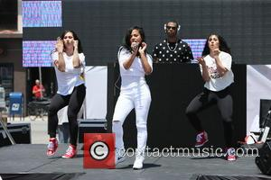 Christina Milian - Charistina Milian seen performing a sound check on stage before the opening of her new pop up...