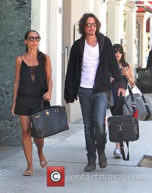 Chris Cornell and Vicky Karayiannis - Soundgarden frontman Chris Cornell goes shopping in Beverly Hills with his wife - Los...