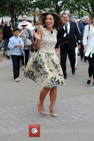 Myleene Klass - Myleene Klass took a tumble on The South Bank whilst walking back from filming This Morning with...