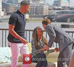 Rochelle Humes and Marvin Humes - Rochelle and Marvin Humes filming on the Southbank - London, United Kingdom - Friday...