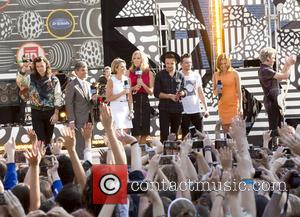 One Direction, George Stephanopoulos, Amy Robach, Lara Spencer and Ginger Zee