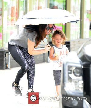 Megan Fox , Noah Shannon Green - Megan Fox picks up son Noah Shannon Green from playschool and shields him...